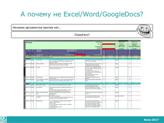 Киев 2017 А почему не Excel/Word/GoogleDocs? Никаких аргументов против нет… Серьёзно!