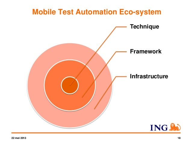 Mobile Test Automation Eco-system 22 mei 2013 54 • Deal with fragmentation • Test management • Cloud vs. private • Automat...