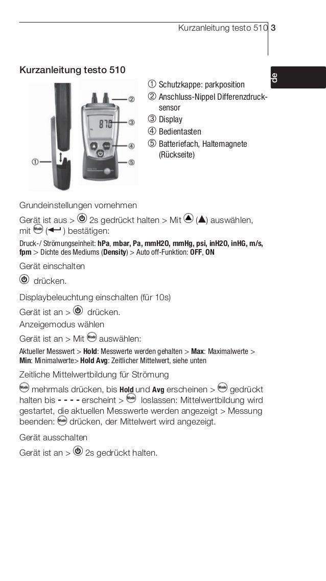 Testo 510 set differential pressure measuring instrument.