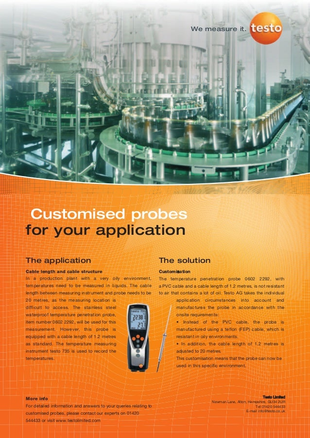 We measure it. Customised probesfor your applicationThe application                                                    The...
