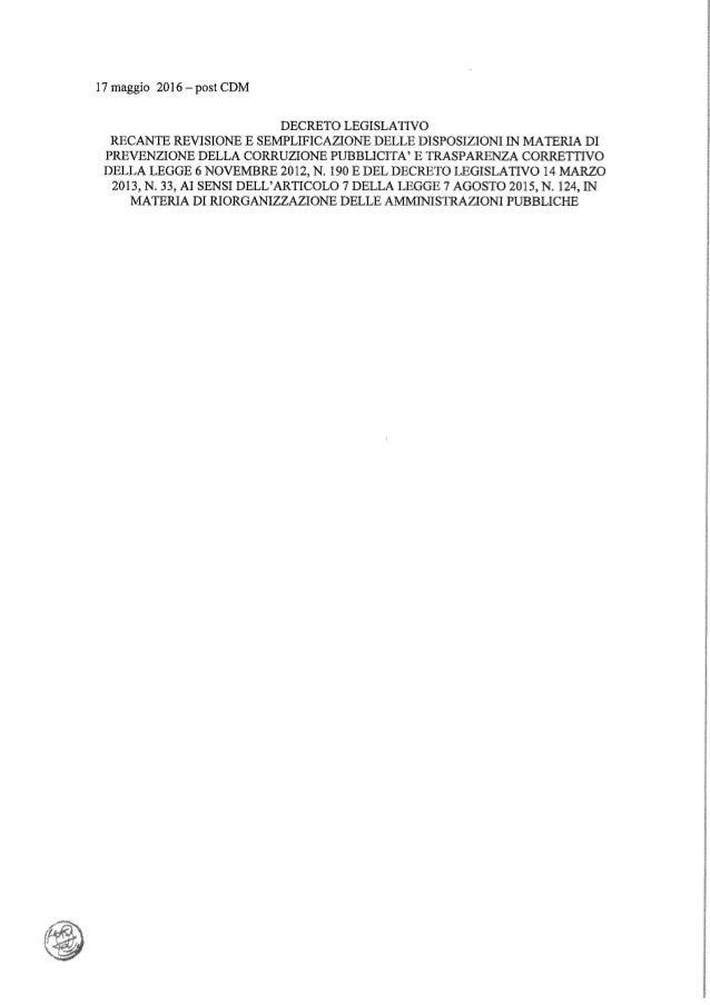 FOIA - Il testo del decreto