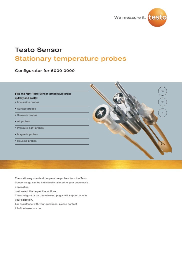 Testo - Stationary temperature probes 2012