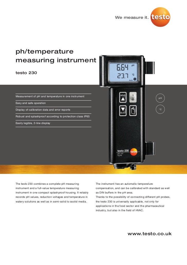 We measure it.ph/temperaturemeasuring instrumenttesto 230Measurement of pH and temperature in one instrument              ...