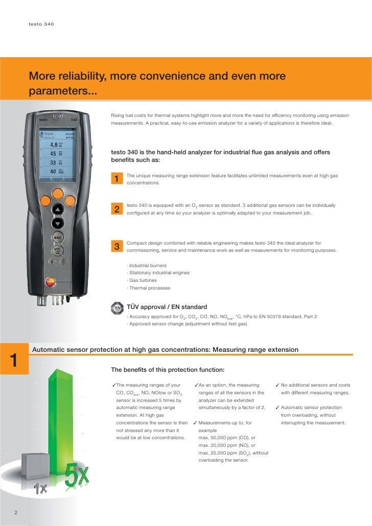 Testo 340 flue gas analyser datasheet