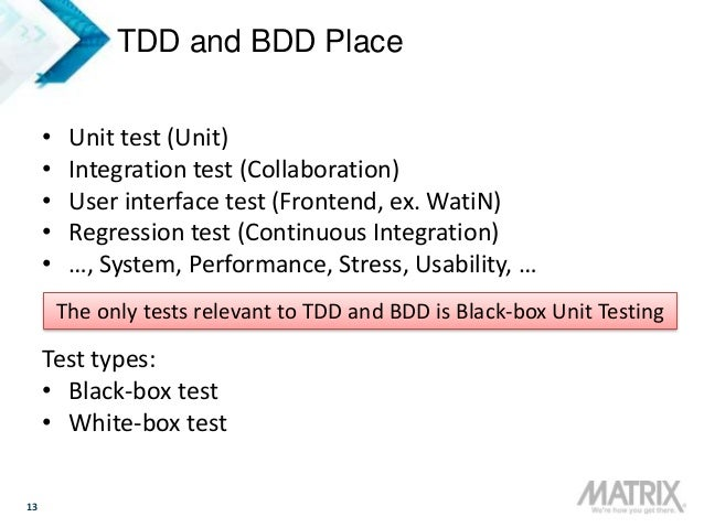 13 TDD and BDD Place • Unit test (Unit) • Integration test (Collaboration) • User interface test (Frontend, ex. WatiN) • R...