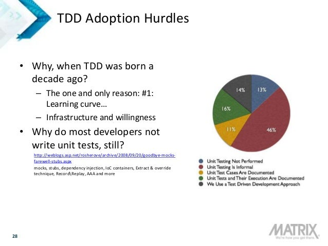 28 TDD Adoption Hurdles • Why, when TDD was born a decade ago? – The one and only reason: #1: Learning curve… – Infrastruc...
