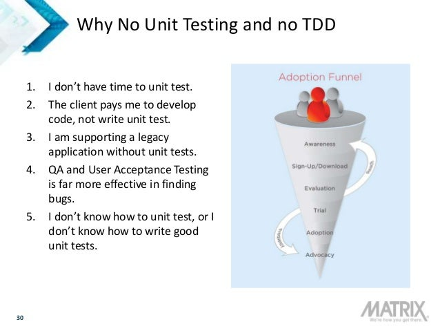 30 Why No Unit Testing and no TDD 1. I don't have time to unit test. 2. The client pays me to develop code, not write unit...