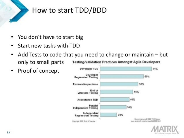 33 How to start TDD/BDD • You don't have to start big • Start new tasks with TDD • Add Tests to code that you need to chan...