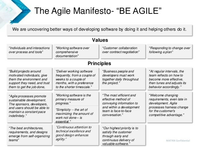 """5 MATRIX Confidential The Agile Manifesto- """"BE AGILE"""" We are uncovering better ways of developing software by doing it and..."""