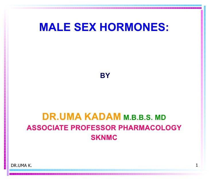 MALE SEX HORMONES:  BY DR.UMA KADAM   M.B.B.S. MD ASSOCIATE PROFESSOR PHARMACOLOGY SKNMC DR.UMA K.