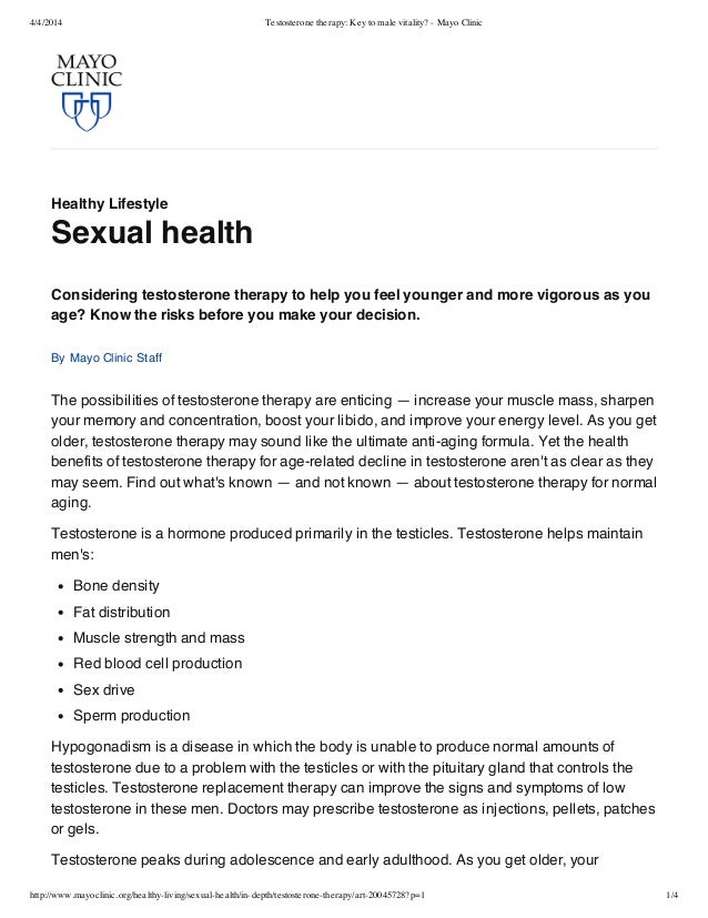 4/4/2014 Testosterone therapy: Key to male vitality? - Mayo Clinic http://www.mayoclinic.org/healthy-living/sexual-health/...