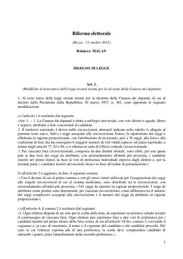 Riforma elettorale                                      (Bozza - 11 ottobre 2012)                                         ...