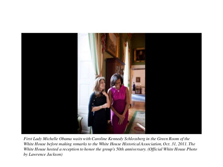 First Lady Michelle Obama waits with Caroline Kennedy Schlossberg in the Green Room of theWhite House before making remark...