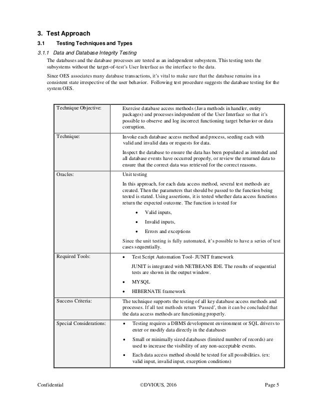 Sample software engineering test plan for Database test plan template
