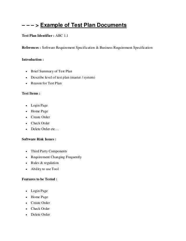 Test plan document