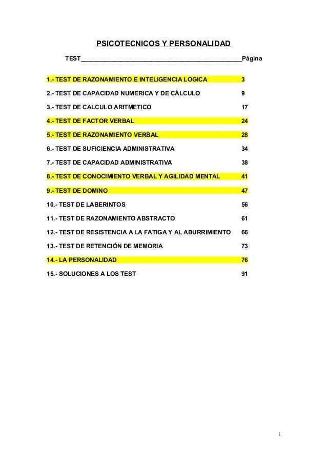 PSICOTECNICOS Y PERSONALIDAD TEST________________________________________________Página 1.- TEST DE RAZONAMIENTO E INTELIG...