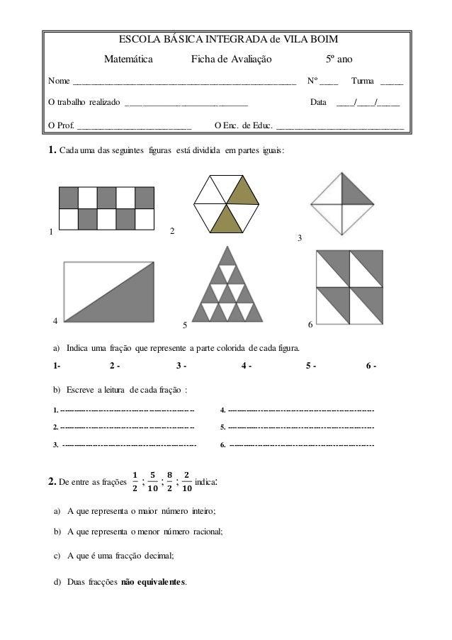 ESCOLA BÁSICA INTEGRADA de VILA BOIM Matemática Ficha de Avaliação 5º ano Nome ___________________________________________...