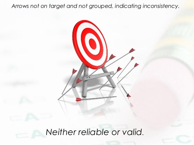 Neither reliable or valid. Arrows not on target and not grouped, indicating inconsistency.