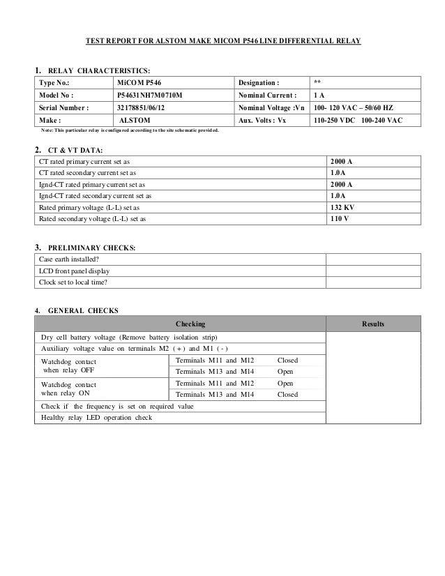 line differential test report for alstom make micom p546 relay rh slideshare net