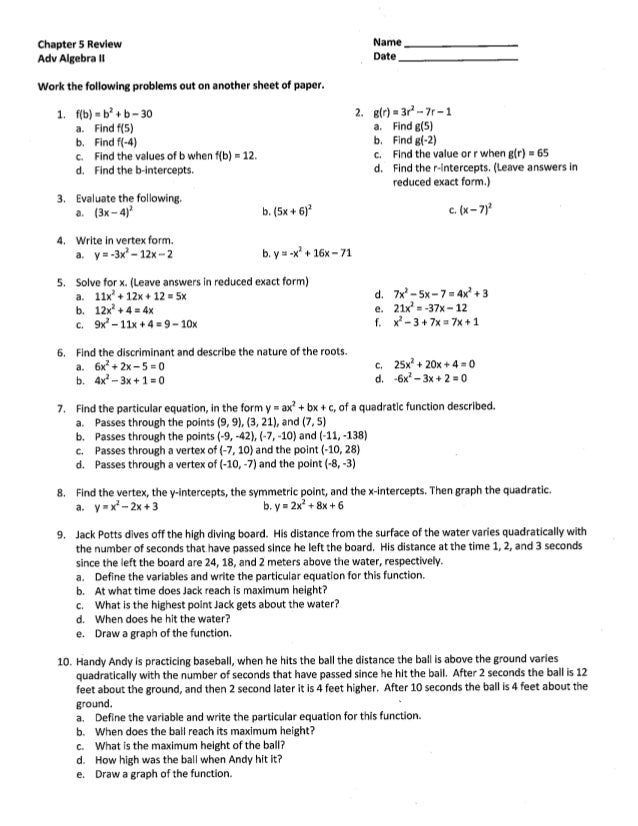 Chapter 5 Test Review - Quadratics