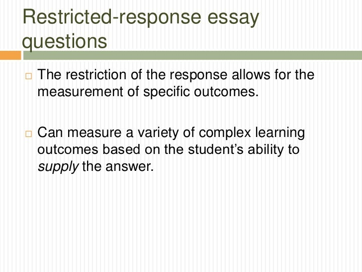 tests and measurements essay questions  4 restricted response essay