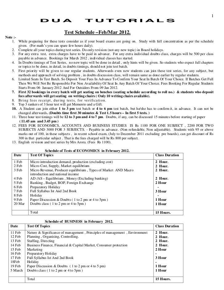 1                        D U A                        T U T OR I A L S                                       Test Schedule...