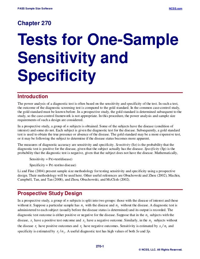 PASS Sample Size Software  NCSS.com  Chapter 270  Tests for One-Sample Sensitivity and Specificity Introduction The power ...