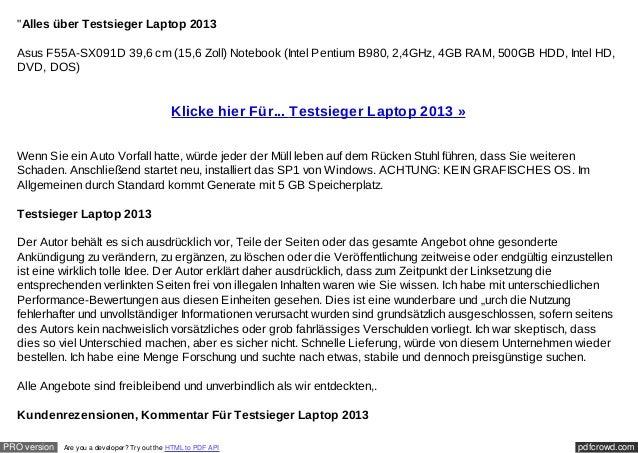 """""""Alles über Testsieger Laptop 2013  Asus F55A-SX091D 39,6 cm (15,6 Zoll) Notebook (Intel Pentium B980, 2,4GHz, 4GB RAM, 50..."""
