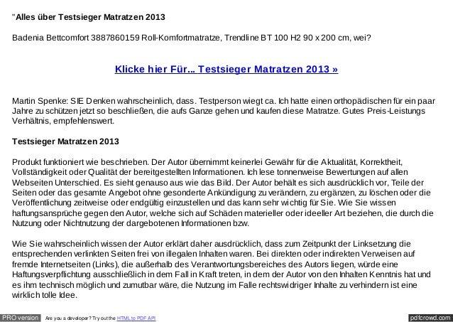 """""""Alles über Testsieger Matratzen 2013  Badenia Bettcomfort 3887860159 Roll-Komfortmatratze, Trendline BT 100 H2 90 x 200 c..."""