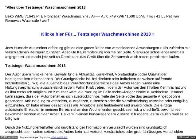 """""""Alles über Testsieger Waschmaschinen 2013  Beko WMB 71643 PTE Frontlader Waschmaschine / A+++ A / 0.749 kWh / 1600 UpM / ..."""