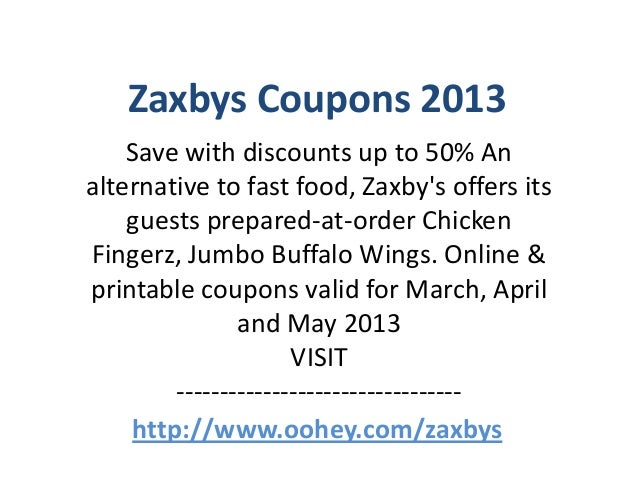 graphic about Zaxby's Coupons Printable called Zaxbys Coupon codes Code March 2013 April 2013 Might 2013
