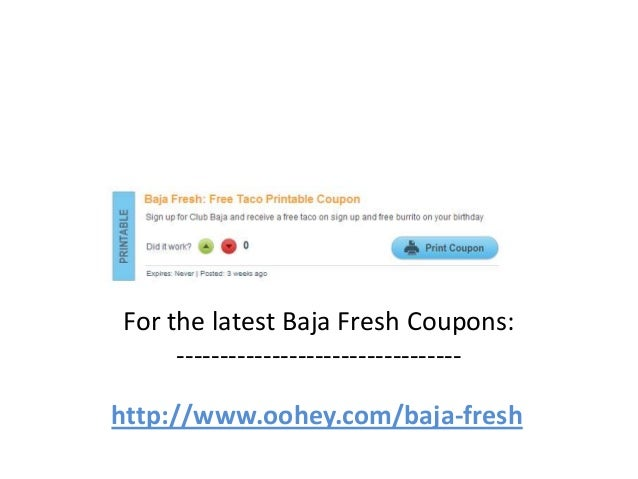 graphic about Baja Fresh Coupons Printable identified as Baja Refreshing Discount codes Code April 2013 Could 2013 June 2013