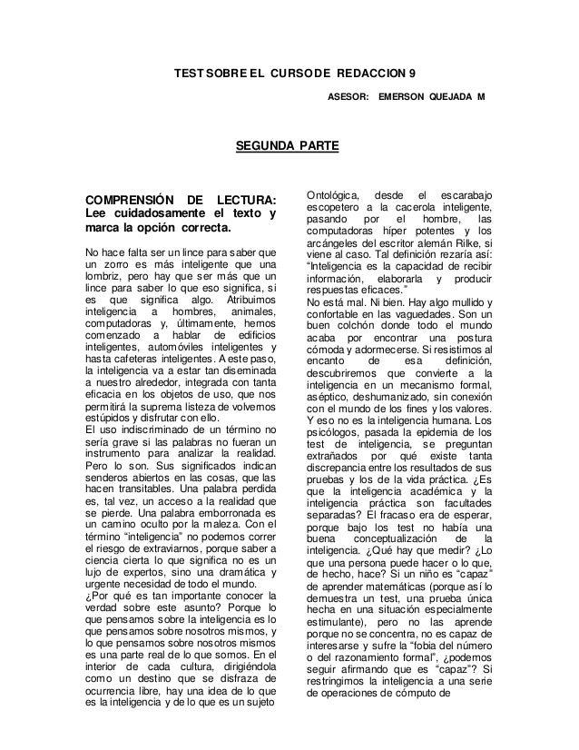 TEST SOBRE EL CURSO DE REDACCION 9  ASESOR: EMERSON QUEJADA M  SEGUNDA PARTE  COMPRENSIÓN DE LECTURA:  Lee cuidadosamente ...