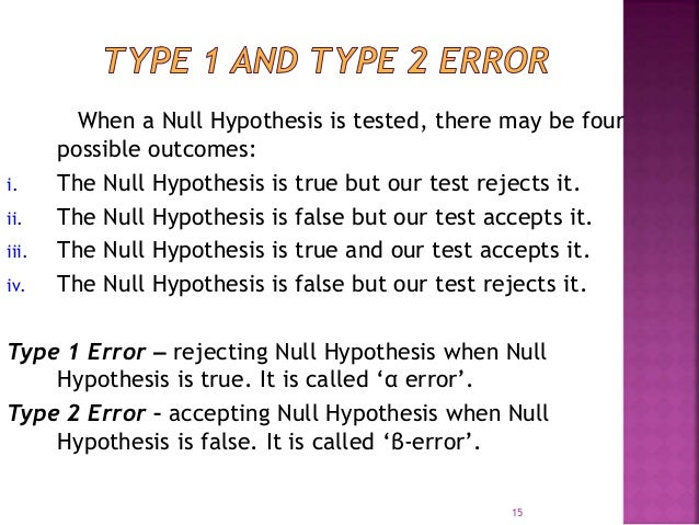 When a Null Hypothesis is tested, there may be four  possible outcomes:  i. The Null Hypothesis is true but our test rejec...