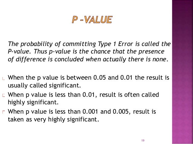 The probability of committing Type 1 Error is called the  P-value. Thus p-value is the chance that the presence  of differ...