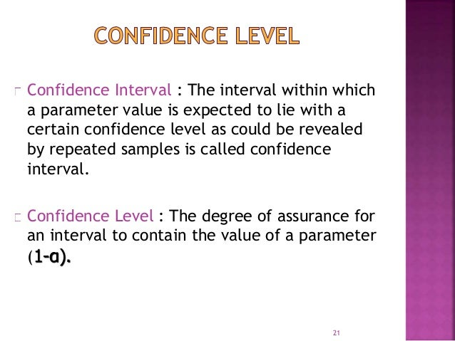 Confidence Interval : The interval within which  a parameter value is expected to lie with a  certain confidence level as ...