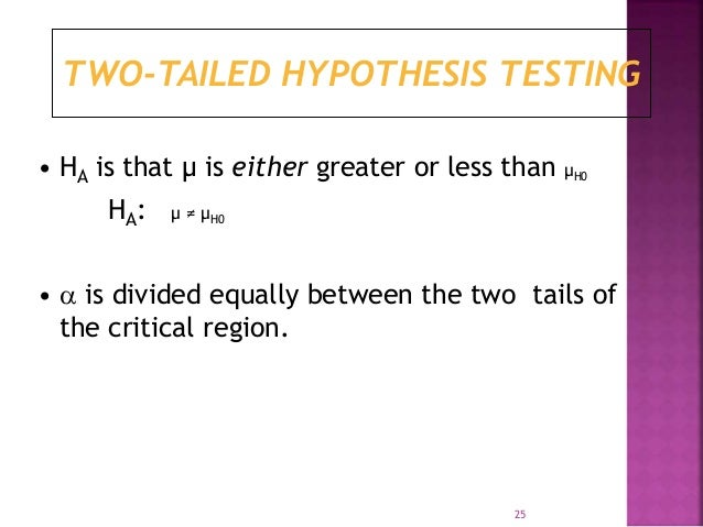 TWO-TAILED HYPOTHESIS TESTING  • HA is that μ is either greater or less than μH0  HA: μ ≠ μH0  •  is divided equally betw...