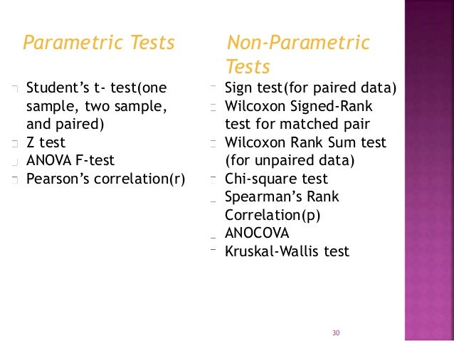 Parametric Tests  Student's t- test(one  sample, two sample,  and paired)  Z test  ANOVA F-test  Pearson's correlation(r) ...