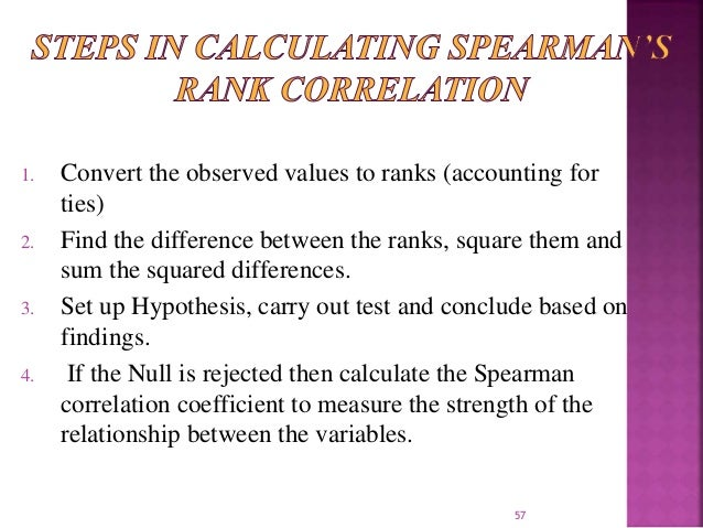 1. Convert the observed values to ranks (accounting for  ties)  2. Find the difference between the ranks, square them and ...