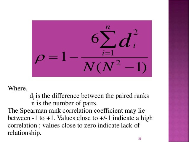 Where,  6  n      1     i  i d  1 2  2  N N  (   1)    di is the difference between the paired ranks  n is the numbe...
