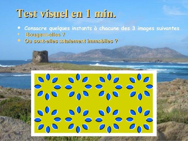Test visuel en 1 min.      Consacre quelques instants à chacune des 3 images suivantes Bougent-elles ? Ou sont-elles t...