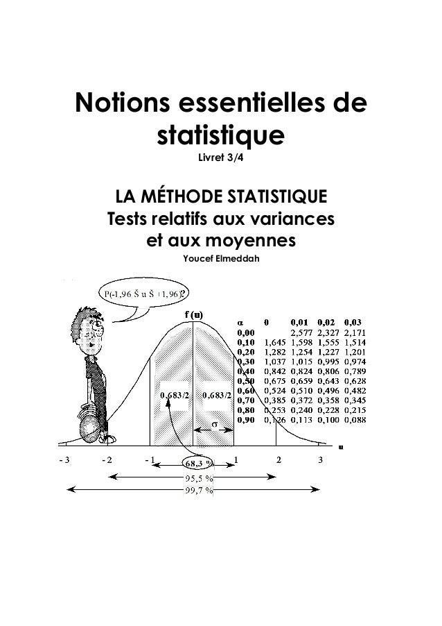 Notions essentielles de statistique Livret 3/4 LA MÉTHODE STATISTIQUE Tests relatifs aux variances et aux moyennes Youcef ...
