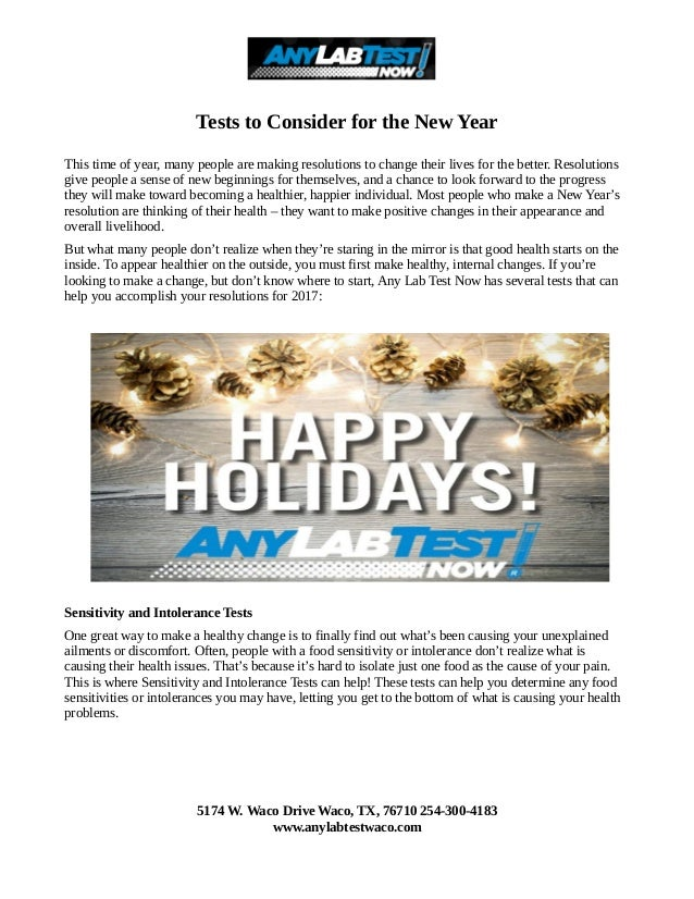 Tests to Consider for the New Year This time of year, many people are making resolutions to change their lives for the bet...