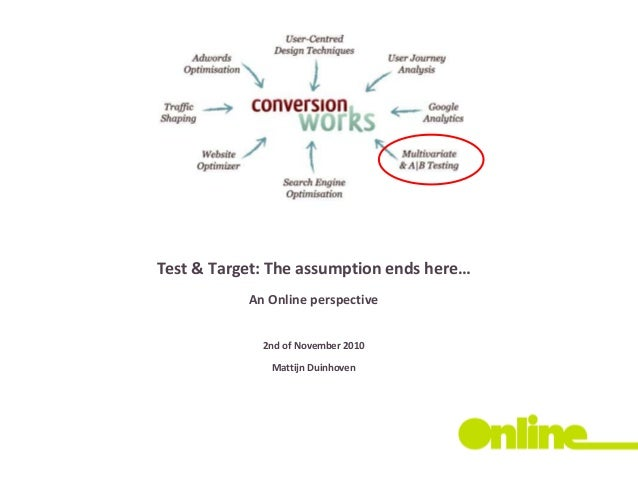 Test & Target: The assumption ends here… An Online perspective 2nd of November 2010 Mattijn Duinhoven