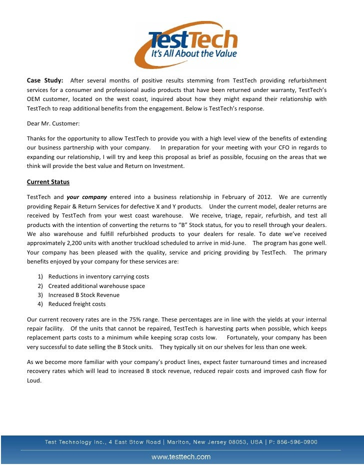 Case Study: After several months of positive results stemming from TestTech providing refurbishmentservices for a consumer...