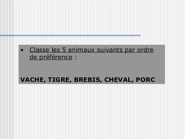 • Classe les 5 animaux suivants par ordre  de préférence :VACHE, TIGRE, BREBIS, CHEVAL, PORC