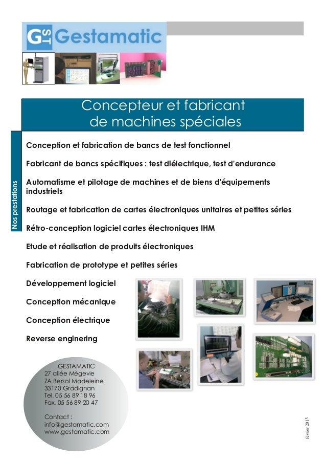 Concepteur et fabricantde machines spécialesConception et fabrication de bancs de test fonctionnelFabricant de bancs spéci...