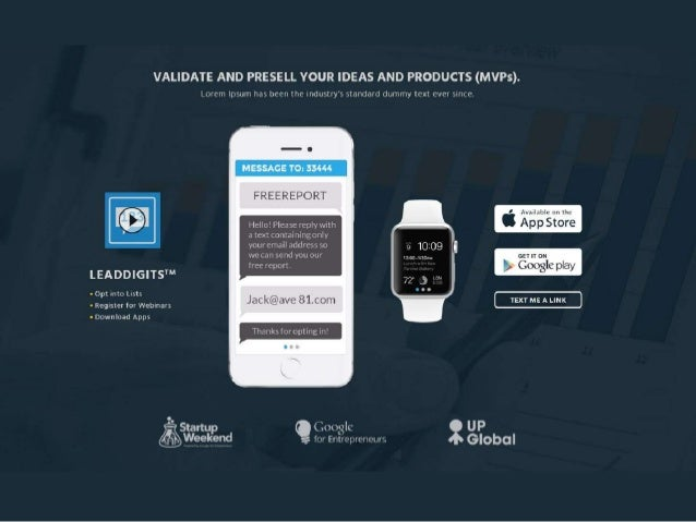Test, VALIDATE, PreSell, LAUNCH / Mobile App MVP | LeadPages Template
