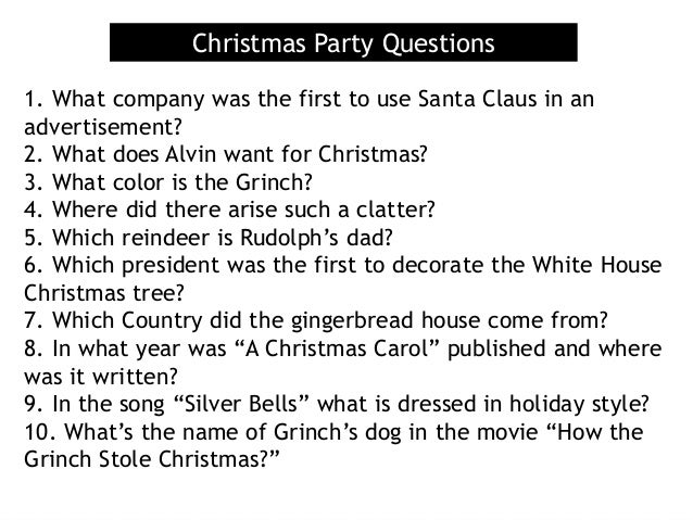 Christmas Trivia Questions.Christmas Party Questions 1 What