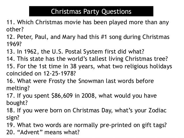 Christmas Trivia With Answers.Christmas Party Questions 21 Mcdonald S